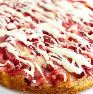 Glazed Upside Down Strawberries and Cream Cake