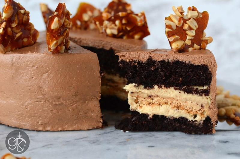 Chocolate Peanut Cake with Caramel Peanut Butter Nougat Filling
