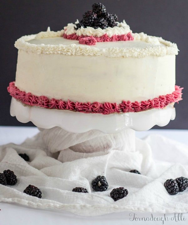Lemon Poppyseed Cake with Blackberry and Almond Buttercream