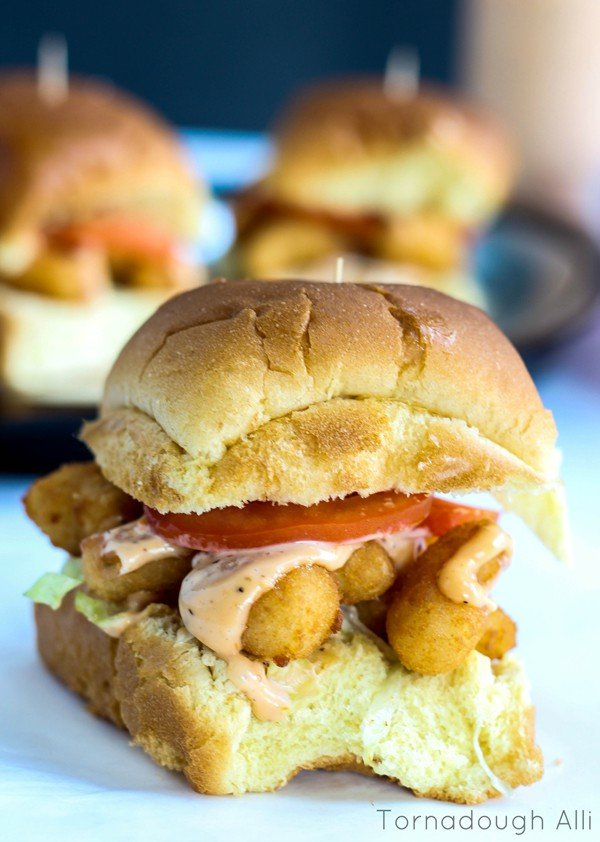 Finished slider showing shrimp sauce and tomatoes