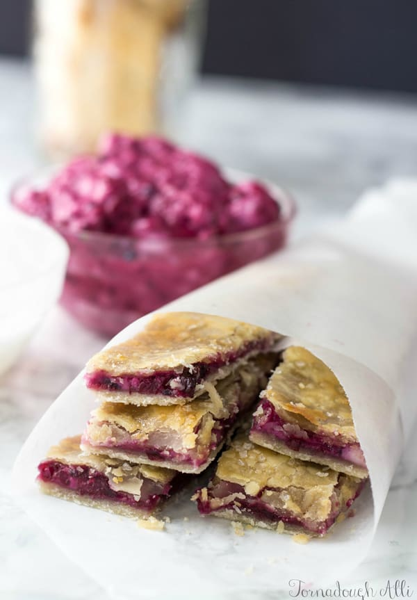Blackberry Cream Cheese Pie Dippers in parchment paper cone