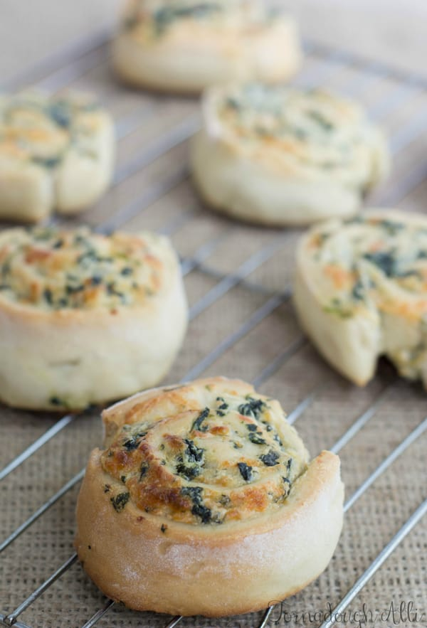 Spinach Dip Pinwheels on cooling rack