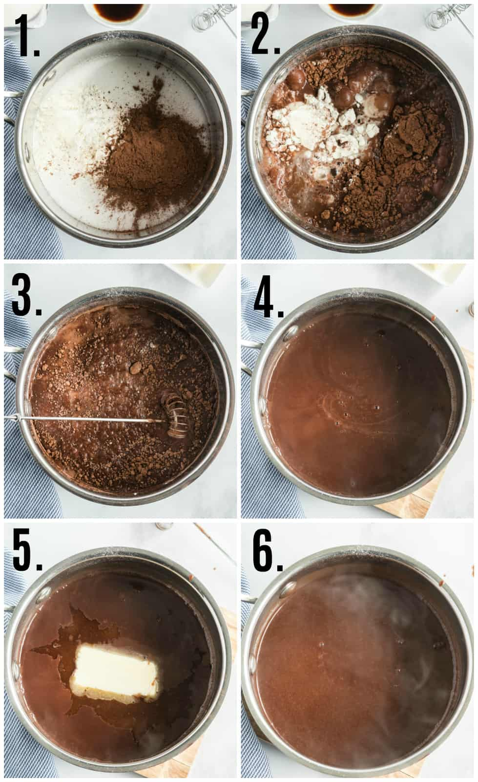 Step by step photos photos on how to make Chocolate Gravy