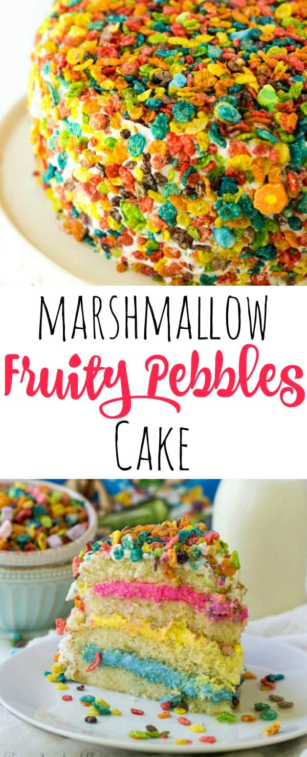 Marshmallow Fruity Pebbles Cake Pinterest image whole cake on top slice of cake on bottom with words in middle