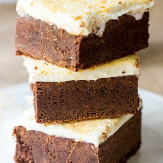 S'mores Fudge Brownies stacked