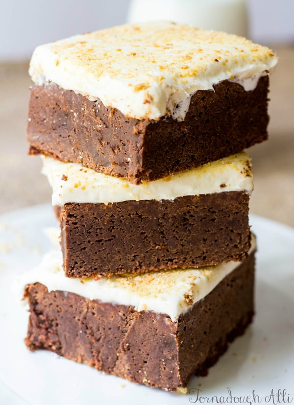 Three brownies stacked on top of one another