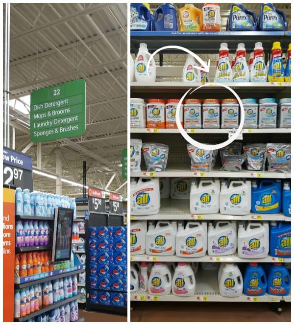 Inside Walmart detergent aisle