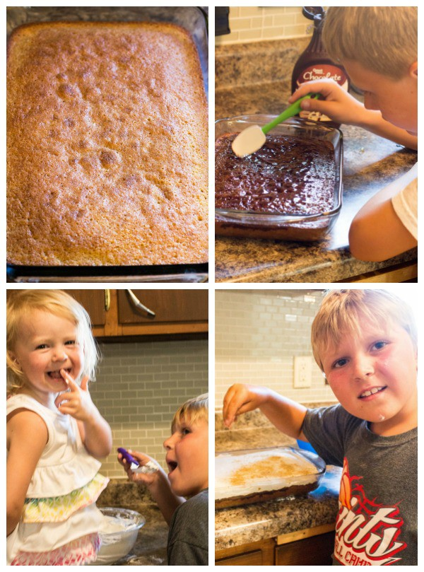 S'mores Poke Cake Photo collage of children helping decorate cake