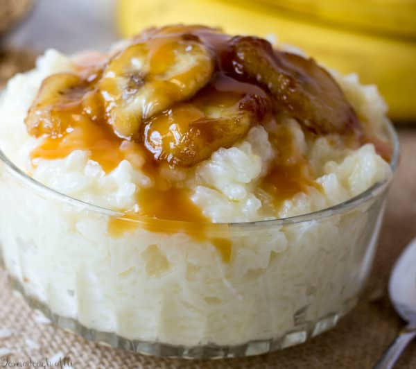 Close up of Bananas Foster Rice Pudding in clear bowl