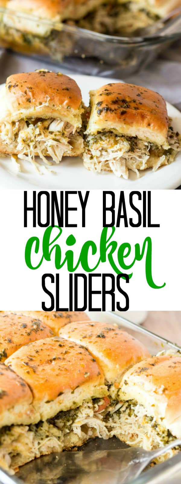 Honey Basil Chicken Sliders collage with words in middle