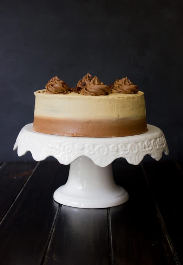 Full cake on cake stand