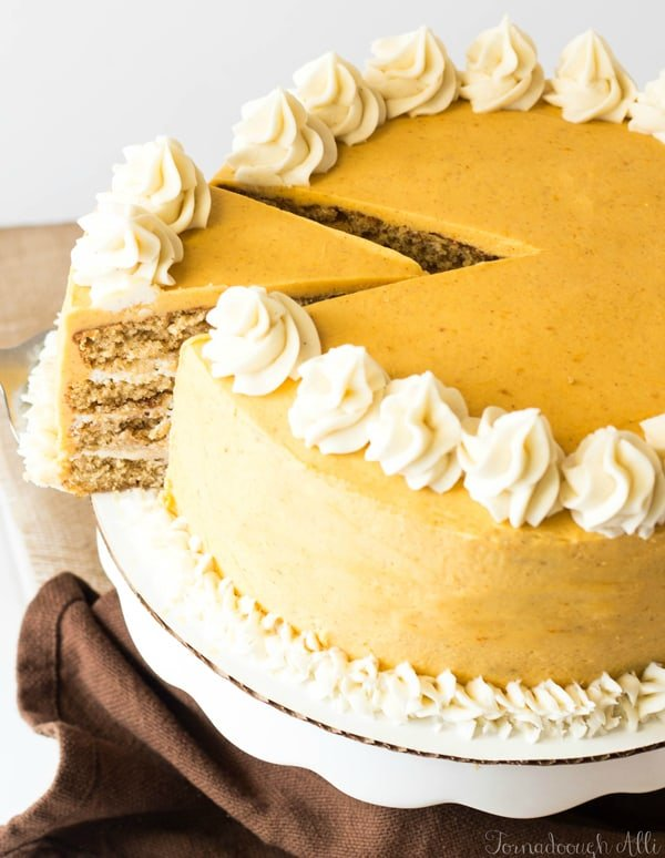 Spice Cake with Cinnamon Cream Cheese and Pumpkin Buttercream