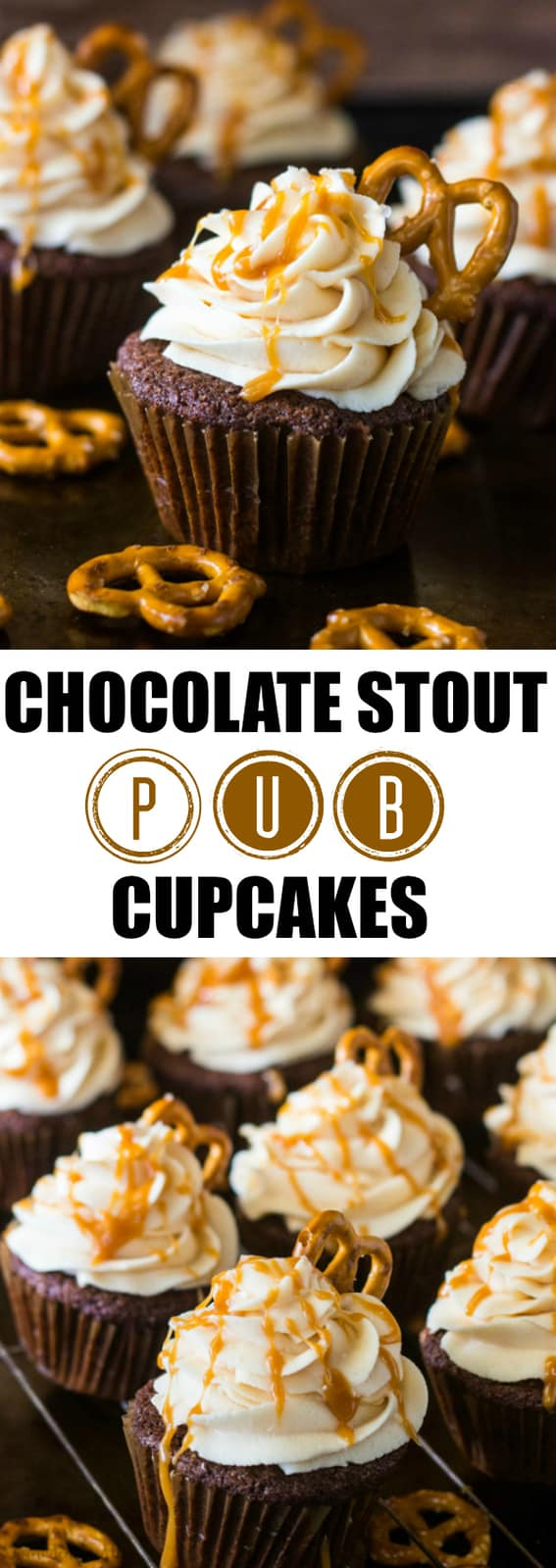 Chocolate Stout Pub Cupcakes collage with words in middle