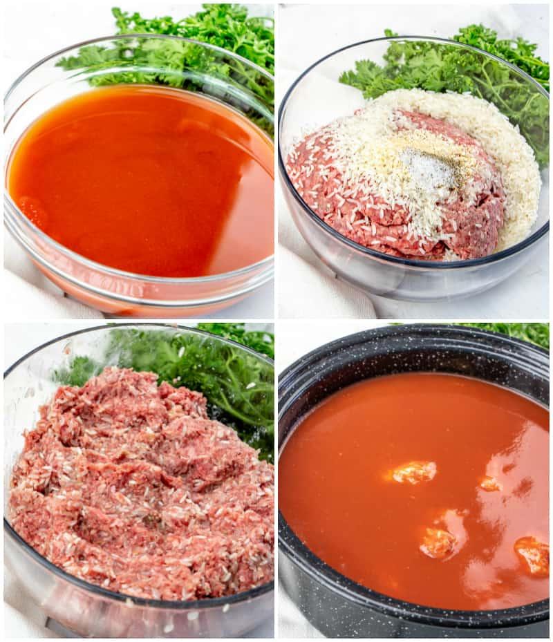 Porcupine Meatballs process shots