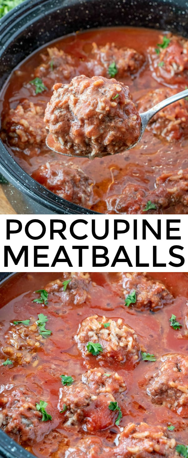 A quick prep easy weeknight dinner these Porcupine Meatballs are savory, tender and full of flavor. Perfect recipe for the whole family to enjoy. #meatballs #comfortfood #beef #weeknightdinner #recipes #easyrecipe