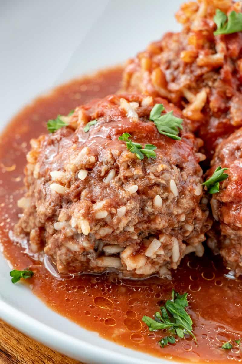 Porcupine Meatballs up close
