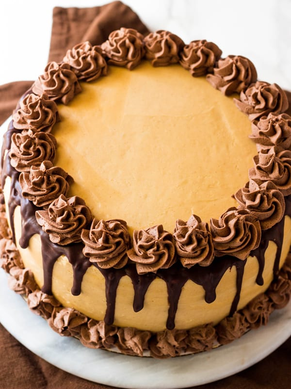 Peanut Butter Cake with Whipped Ganache