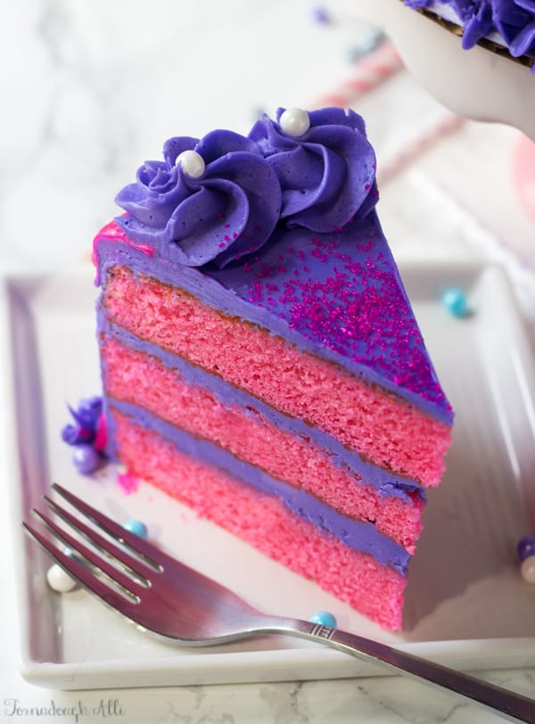 Pink Velvet Cake with Purple Vanilla Buttercream