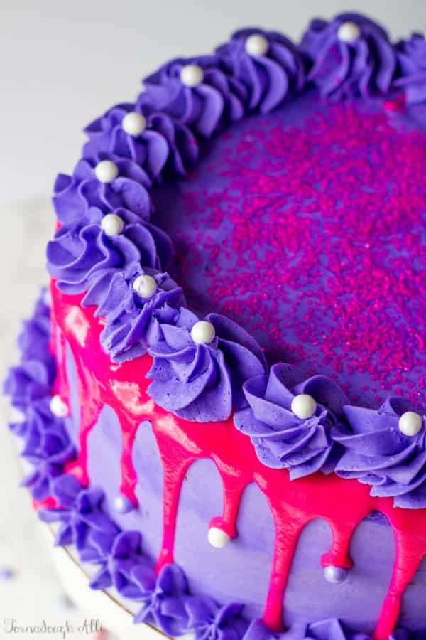 Pink Velvet Cake With Purple Vanilla Buttercream Tornadough Alli
