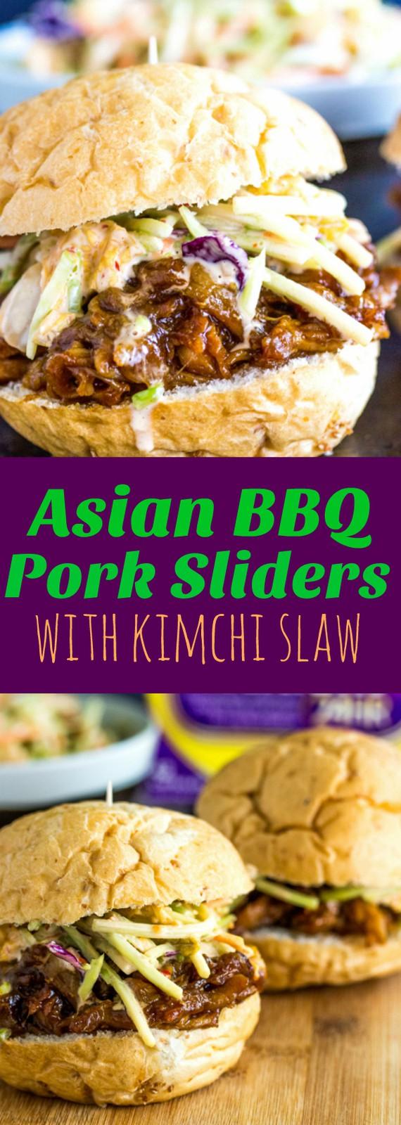 Slow Cooker Asian BBQ Pork Slides wih Kimchi Slaw