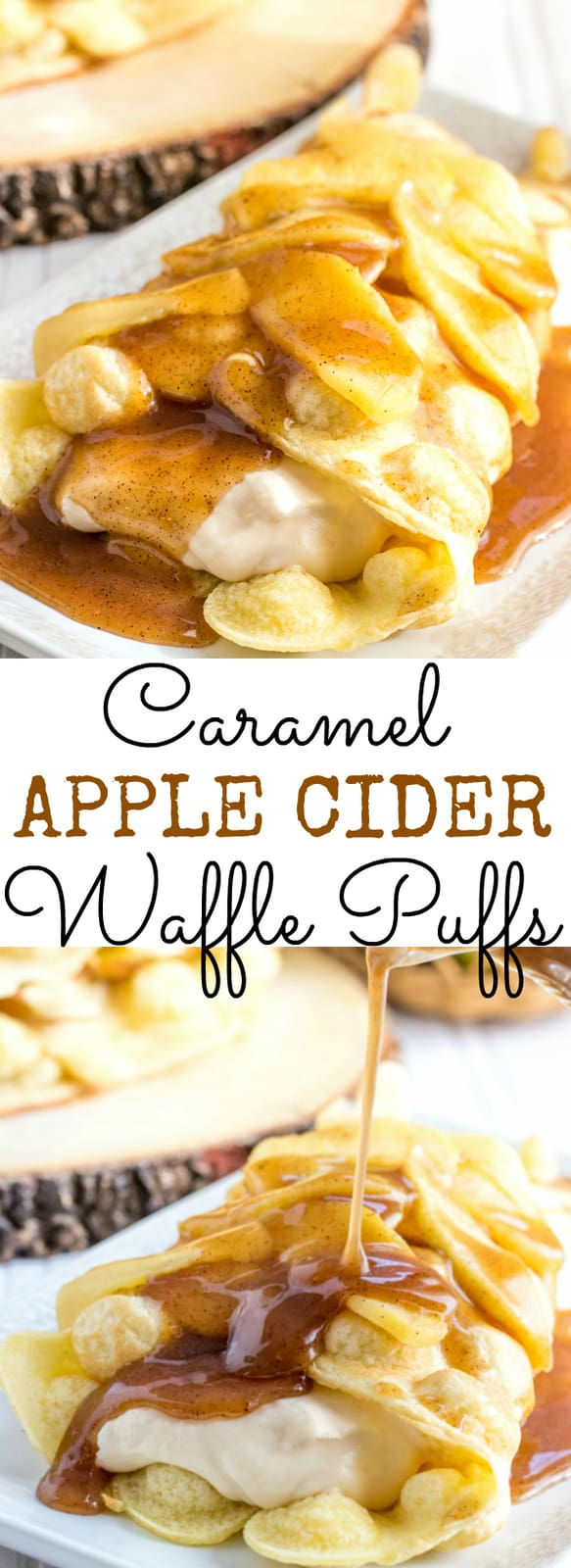 Caramel Apple Cider Waffle Puffs