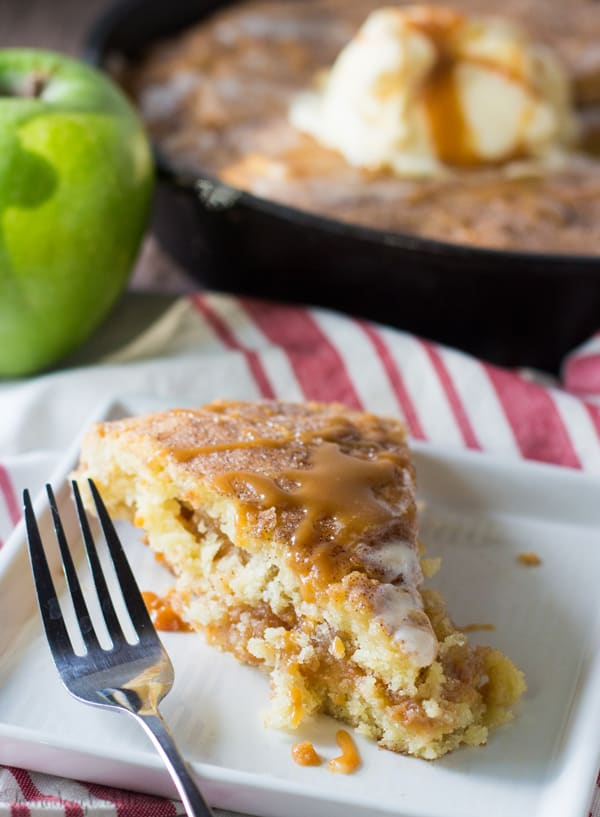 Caramel Apple Stuffed Snickerdoodle Skillet Cookie