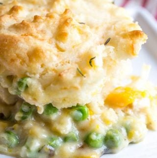 Cheddar Biscuit Topped Harvest Chicken Pot Pie
