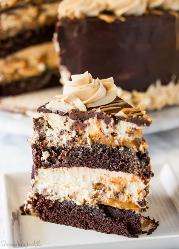 Copycat Cheesecake Factory Reese's Peanut Butter Chocolate Cake Cheesecake on white plate