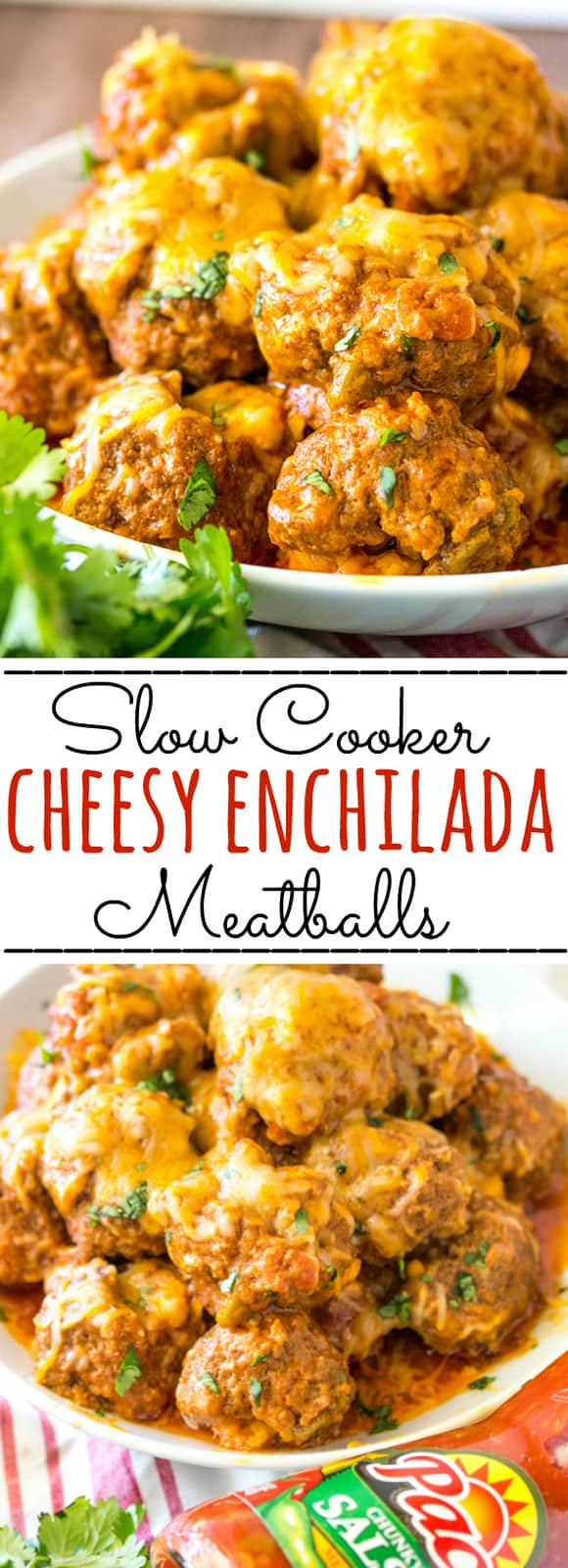 Cheesy, spicy and addicting these Cheesy Enchilada Crockpot Meatballs are a flavorful, gooey and delicious appetizer recipe that is perfect for parties. #meatballs #slowcooker #crockpot #beef #cheesy #appetizers #Mexican