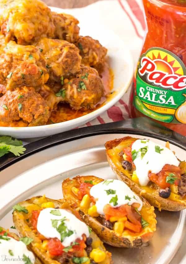 Slow Cooker Enchilada Meatballs and Southwest Potato Skins