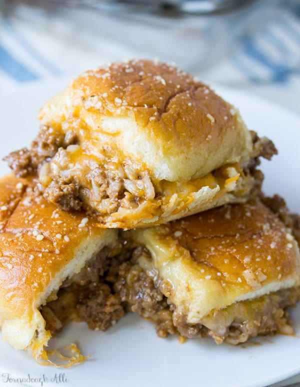 Three stacked Old Fashioned Sloppy Joe Sliders on white plate