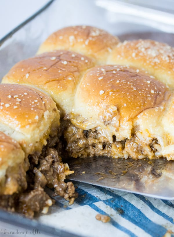 Old Fashioned Sloppy Joe Sliders in pan with a few missing