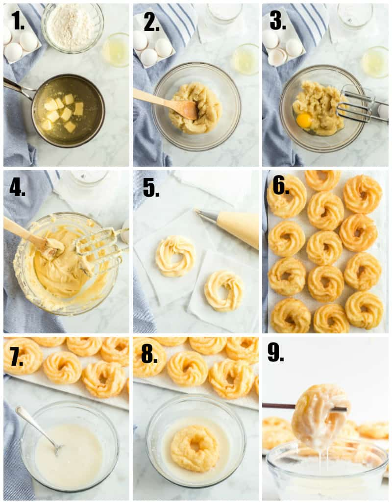 In process photos on how to make French crullers