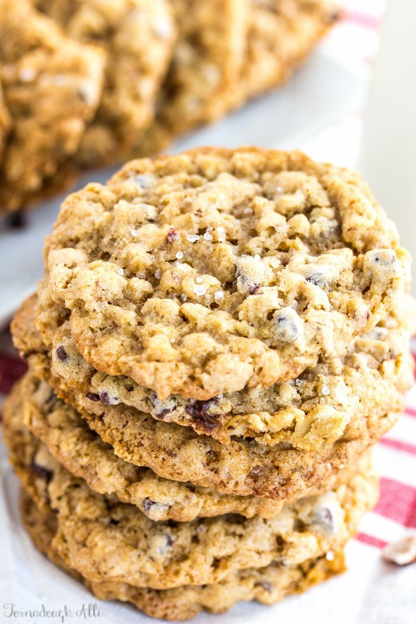 Stacked overhead photo of Sea Salt Hazenut Chocolate Chip Oatmeal Cookies