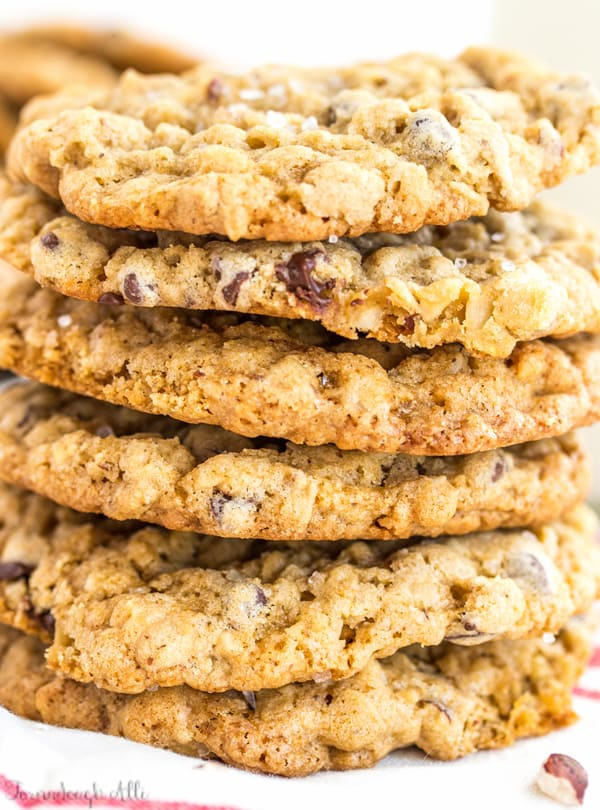 Very close up of stacked Sea Salt Hazelnut Chocolate Chip Oatmeal Cookies