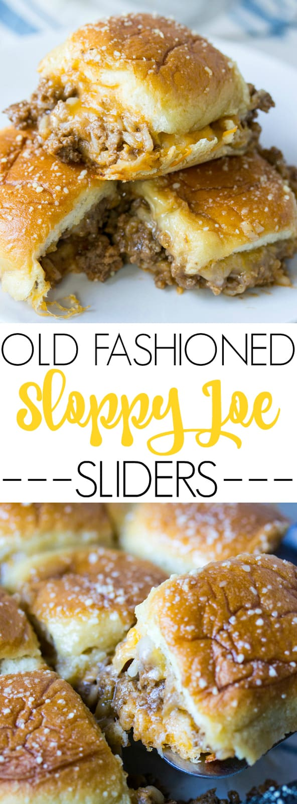 Old Fashioned Sloppy Joe Sliders collage with words in middle