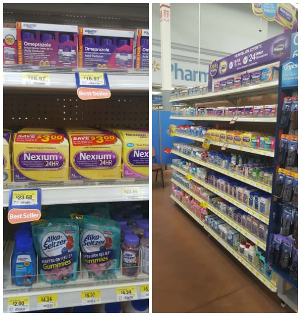 Medicine aisle in Walmart collage