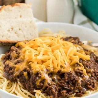 dished up Cincinnati chili topped with cheese in bowl