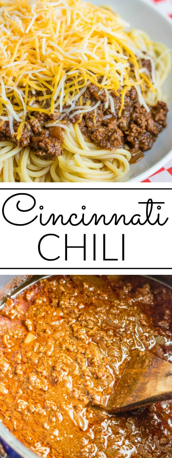 Deliciously hearty, this Cincinnati Chili is a unique chili recipe served over spaghetti and topped with cheese, onions or beans or a combination of the 5! #chili #pasta #skylinechili #cinncinatichili #beef #cheese #spaghetti