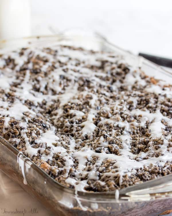 Cookies and Cream Coffee Cake in baking dish