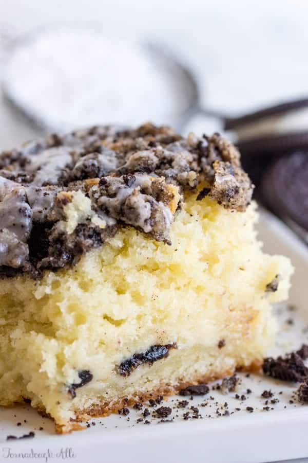 Slice of Cookies and Cream Coffee Cake on white plate