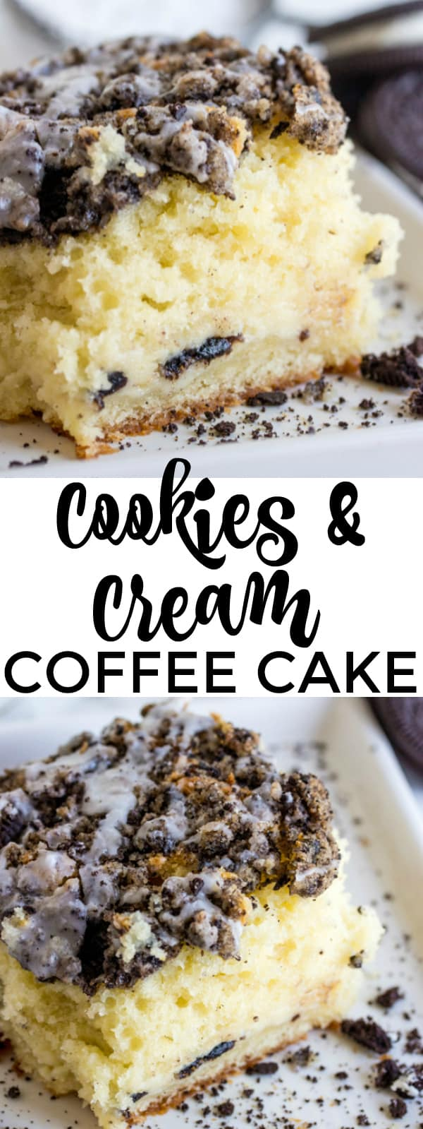 Cookies and Cream Coffee Cake collage with words in middle