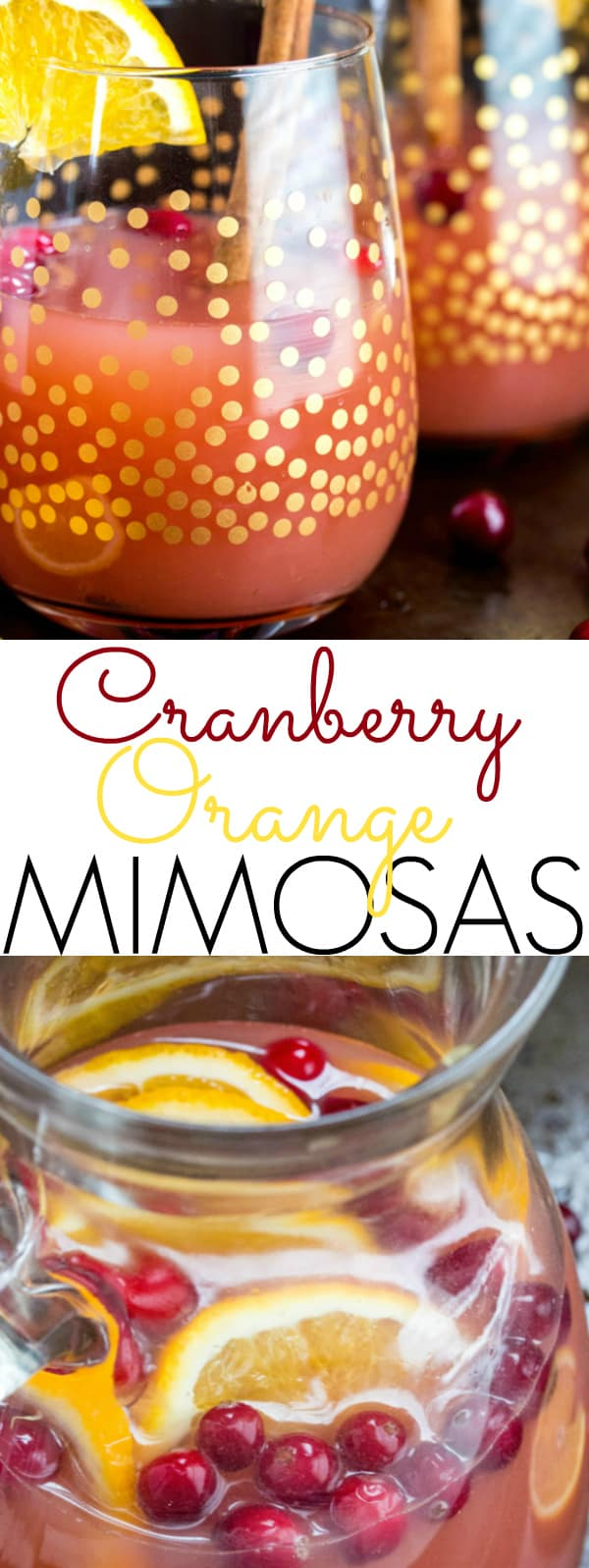 Cranberry Orange Mimosas  collage with words in middle