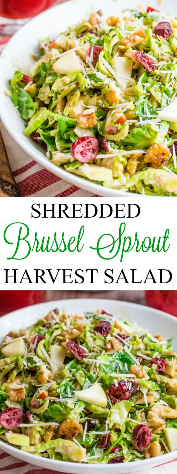 Shredded Brussel Sprout Harvest Salad collage with words in the middle