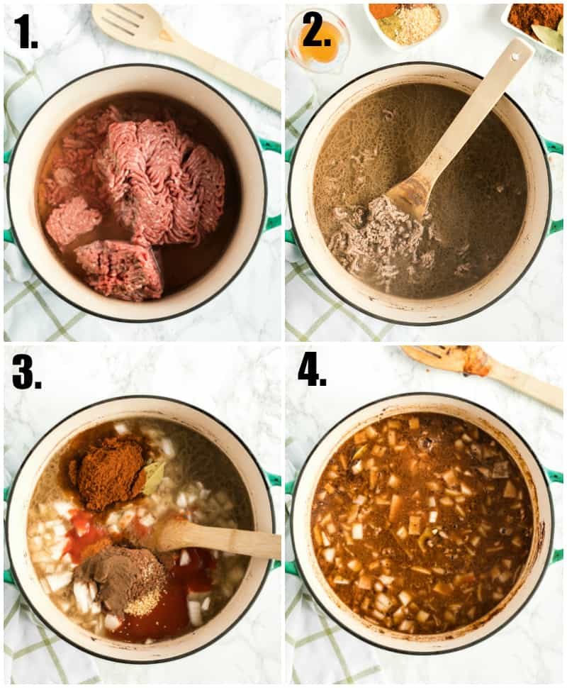 Step by step photos on how to make Cincinnati chili