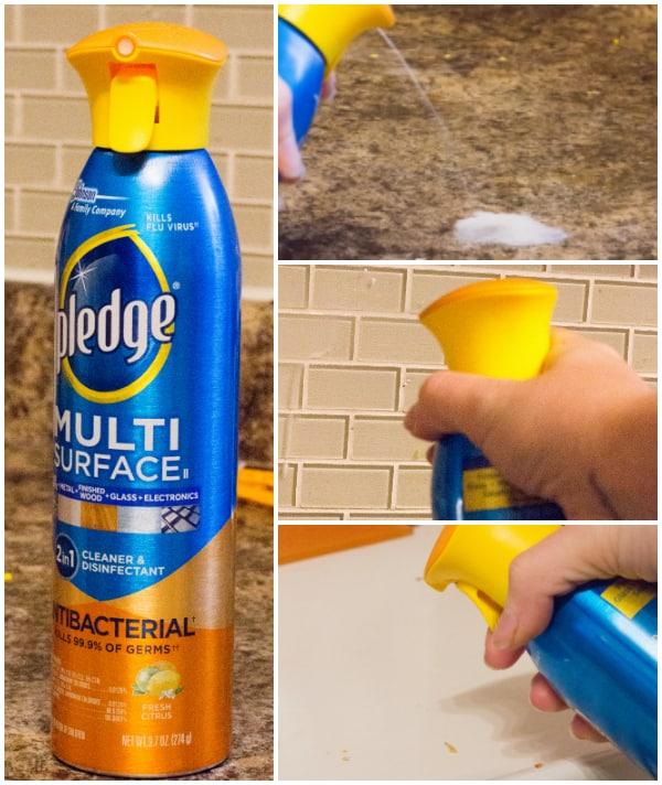 Photo collage of using Pledge
