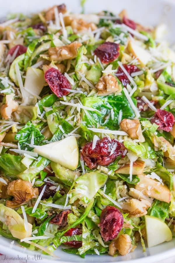 Close up of Shredded Brussel Sprout Harvest Salad in bowl