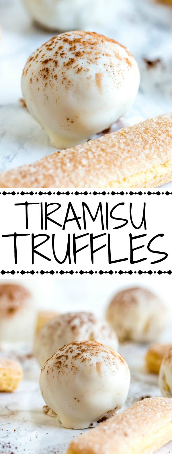 Tiramisu Truffle collage with words in middle