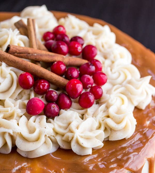 Overhead of cake with frosting cranberries and cinnamon sticks