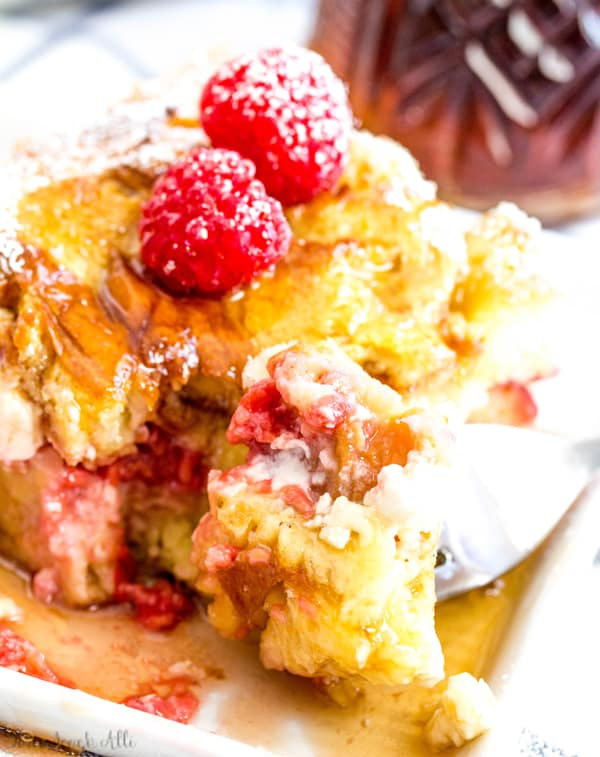 Raspberry Cream Cheese French Toast Bake